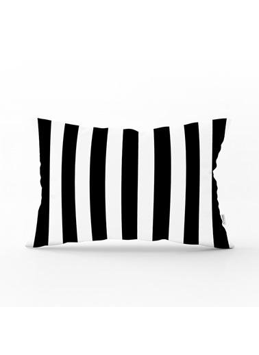 Real Homes Siyah Beyaz Çizgili Dekoratif Dikdörtgen Yastık Kırlent Kılıfı Renkli